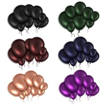 Conjunto de balões brilhantes em cores differen