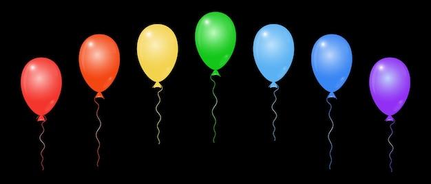 Conjunto de balões coloridos. 7 elementos isolados em um fundo preto. desenho universal para cartões de aniversário, anúncios, apresentações. entrega de balões com hélio. ilustração vetorial