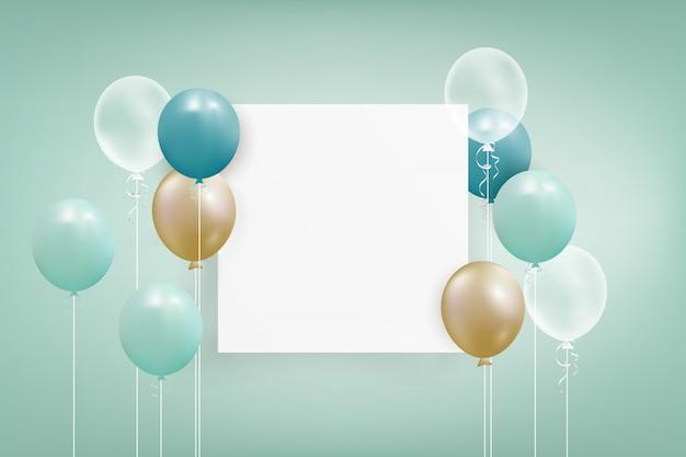 Conjunto de balões coloridos com confetes e espaço vazio para texto.