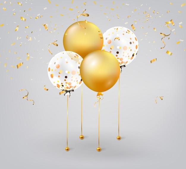 Conjunto de balões coloridos com confetes ouro.