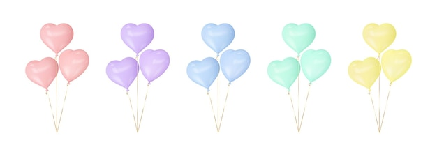 Conjunto de balões coloridos de coração.