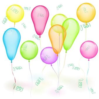 Conjunto de balões coloridos de vetor em branco. amarelo, vermelho, verde, azul
