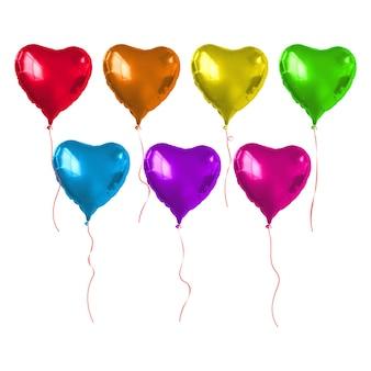 Conjunto de balões coloridos em forma de coração.