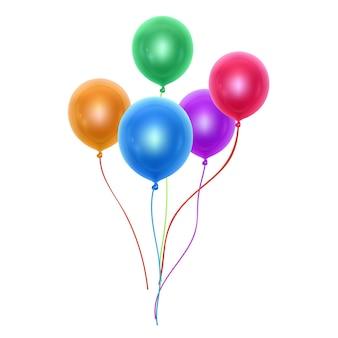 Conjunto de balões coloridos realistas para decoração de modelo e convite