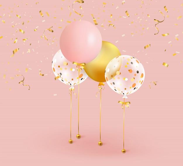 Conjunto de balões cor de rosa, dourados com confetes ouro.