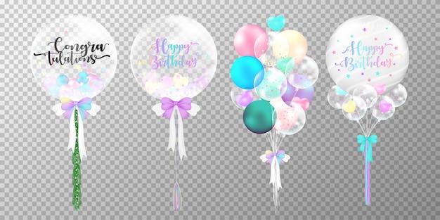 Conjunto de balões de aniversário colorido sobre fundo transparente.