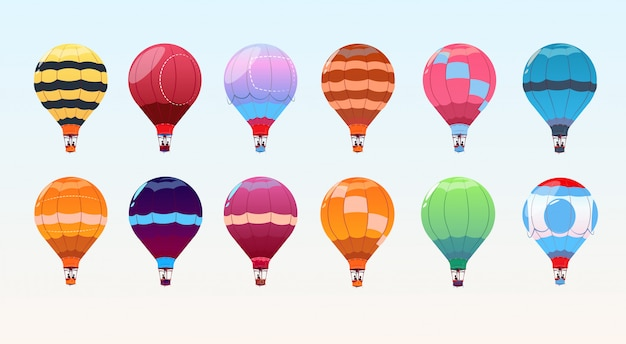 Conjunto de balões de ar colorido, coleção de dirigível