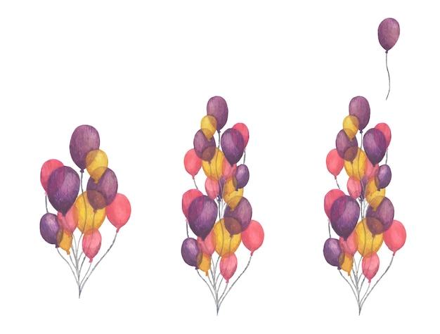 Conjunto de balões de ar. pacote desenhado à mão com balões coloridos de festa
