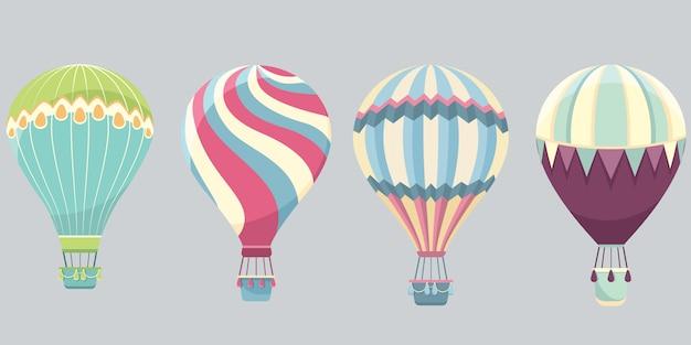 Conjunto de balões de ar quente. aeróstatos coloridos em estilo cartoon.