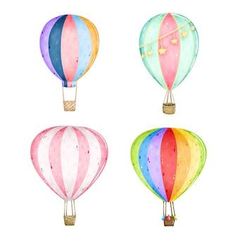 Conjunto de balões de ar quente bonito dos desenhos animados sobre um fundo branco