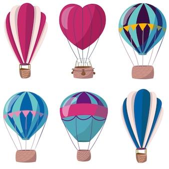 Conjunto de balões de ar quente coleção de elementos para web design, artigos de papelaria, folhetos, produtos infantis
