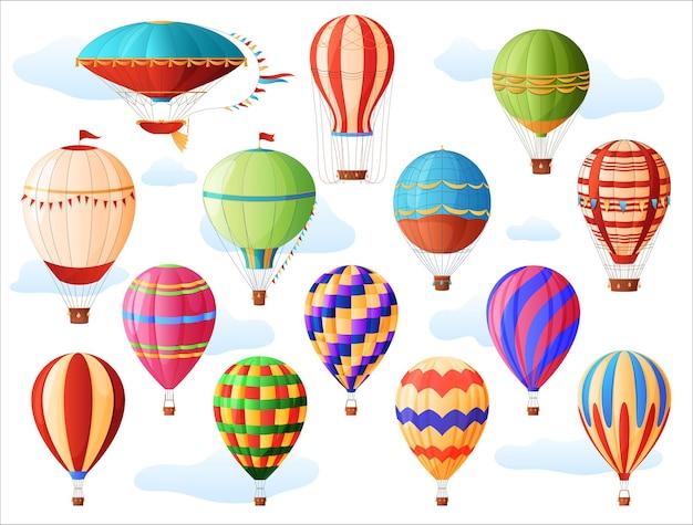 Conjunto de balões de ar quente, diferentes cores e formas, balões de ar quente vintage. aeronáutica.