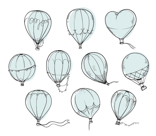 Conjunto de balões de ar quente, ilustração vetorial de linha