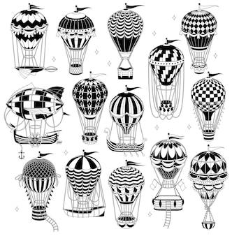 Conjunto de balões de ar quente isolados no branco