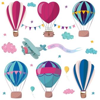 Conjunto de balões de ar quente, nuvens e bandeiras, ilustração vetorial plana