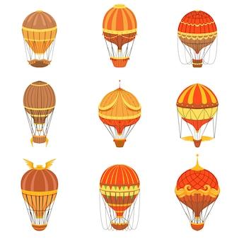 Conjunto de balões de ar quente vintage
