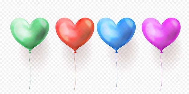Conjunto de balões de coração isolado