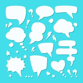 Conjunto de balões de diálogo de diálogo