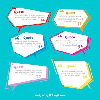 Conjunto de balões de diálogo geométricos para frases