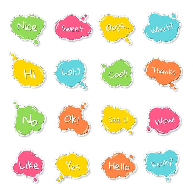 Conjunto de balões de fala coloridos, quadrinhos balão de pensamento