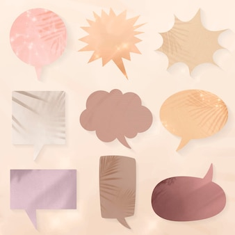 Conjunto de balões de fala com sombras estéticas