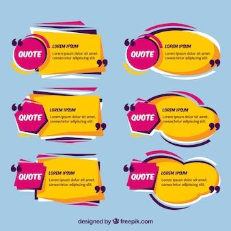 Conjunto de balões de fala de mensagem amarela