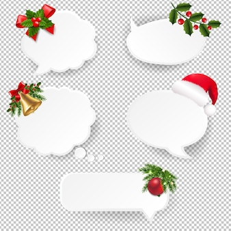 Conjunto de balões de fala de natal com papel transparente