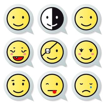 Conjunto de balões de fala de rosto feliz