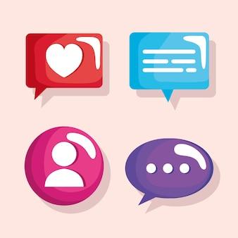 Conjunto de balões de fala e ilustração de ícones do usuário