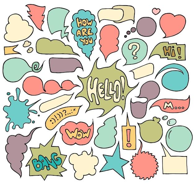 Conjunto de balões de fala e pensamentos