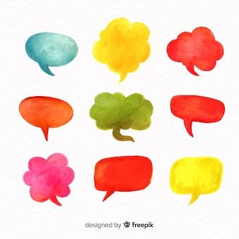 Conjunto de balões de fala em aquarela