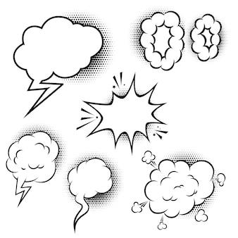 Conjunto de balões de fala em estilo cômico. elementos para cartaz, banner, cartão. ilustração