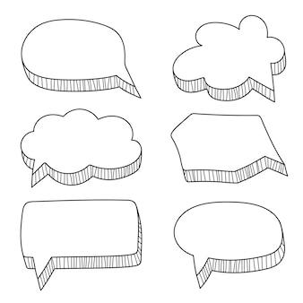 Conjunto de balões de fala em estilo quadrinhos desenhados à mão em branco