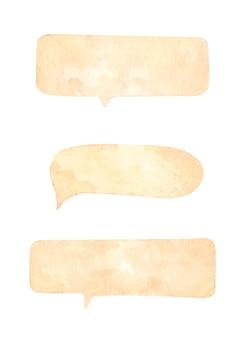 Conjunto de balões de fala em fundo branco. ilustração em aquarela.