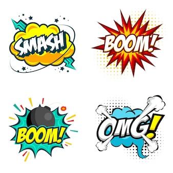 Conjunto de balões de fala em quadrinhos coloridos com texto