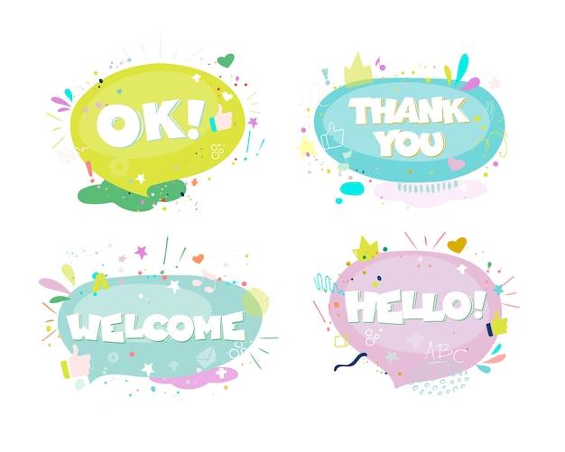 Conjunto de balões de fala em quadrinhos coloridos desenhados à mão com frases oi, olá, eu te amo, sim, uau, tchau, bem-vindo, 100%, ok.