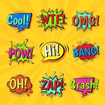 Conjunto de balões de fala em quadrinhos coloridos