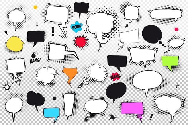 Conjunto de balões de fala em quadrinhos e elementos com sombras de meio-tom.