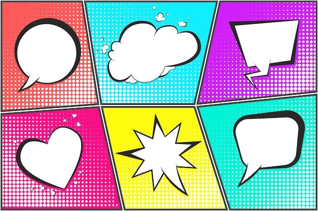 Conjunto de balões de fala em quadrinhos em fundos de meio-tom