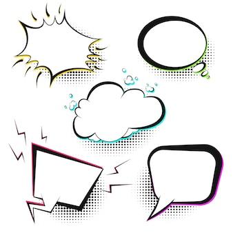 Conjunto de balões de fala em quadrinhos retrô de vetor branco