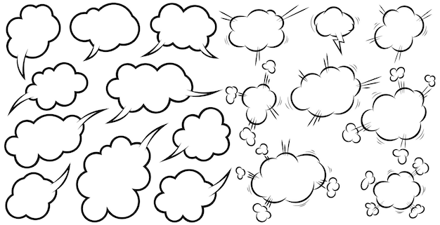 Conjunto de balões de fala em quadrinhos vazios. elemento de design para cartaz, camiseta, emblema, sinal, etiqueta, banner, panfleto. ilustração vetorial