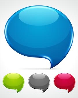 Conjunto de balões de fala em vidro