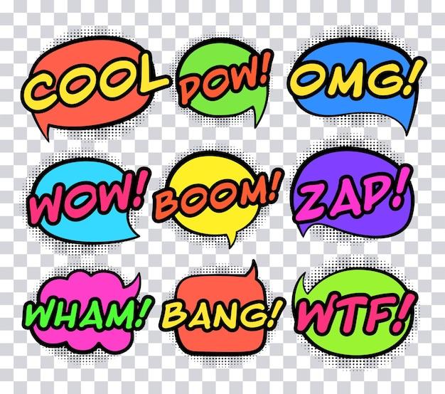Conjunto de balões de fala ou palavras sonoras em quadrinhos