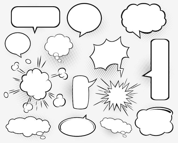 Conjunto de balões de fala. sombras de meio-tom. quadrinho.