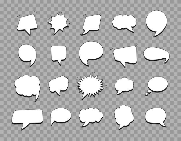Conjunto de balões de fala vazios para quadrinhos