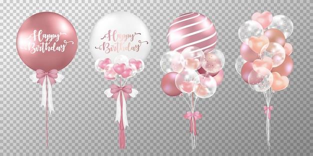 Conjunto de balões de feliz aniversário em fundo transparente.