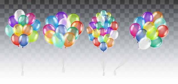 Conjunto de balões de gás de hélio colorido real
