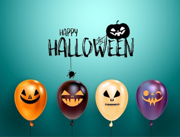 Conjunto de balões de halloween com rostos assustadores e logotipo de halloween com gato no chapéu.