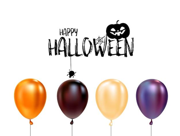 Conjunto de balões de halloween e logotipo de halloween com gato no chapéu.
