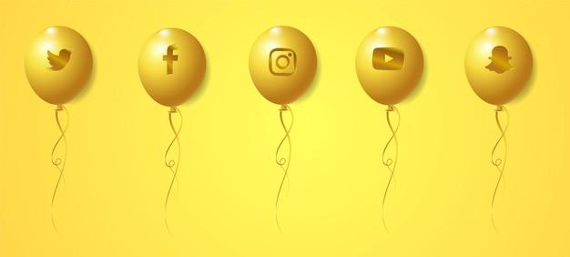 Conjunto de balões de logotipos de mídia social dourado